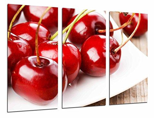 Cuadro Fotográfico Fruteria, Frutas en Plato, Cerezas Rojas Tamaño total: 97 x 62 cm XXL