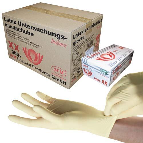 SFM ® BIOLIMES Latex : XS, S, M, L, XL weiß puderfrei volltexturiert Einweghandschuhe Einmalhandschuhe Untersuchungshandschuhe Latexhandschuhe M (1000)