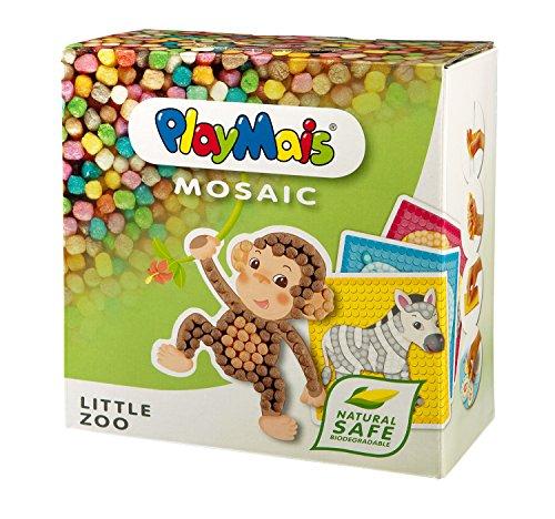 PlayMais MOSAIC Little Zoo Kreativ-Set zum Basteln für Kinder ab 3 Jahren | Über 2.300 PlayMais & 6 Mosaik Klebebilder mit Zootieren | Fördert Kreativität & Feinmotorik | Natürliches Spielzeug