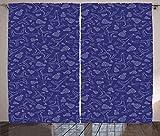 ABAKUHAUS Patines de Hielo Cortinas, Patines Sombreros y Cintas, Sala de Estar Dormitorio Cortinas Ventana Set de Dos Paños, 280 x 225 cm, Oscuro Blanco de la Lavanda