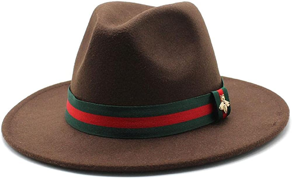 Women's and Men's Fedora Hat Classic Wide Elegant Brim Panama Wool Jazz Hat Daily Travel Cowboy Hats with Decoration Orange