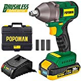 Impact Wrench, Brushless 20V MAX Cordless, 300 Ft-lbs Max Torque with 3 Speed Transmission, 1/2' Hog Ring Anvil, 60 Min Fast Charger, 2.0Ah Li-ion Battery, Tool Box - POPOMAN BHD850B