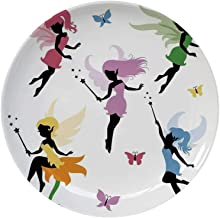 MOOCOM Fantasy Ceramic Decorative Plate,Cute Pixie Spirit Elf Fairies Flying with Butterflies Girls Princess Flowers Design for Home Decorative,6 inch