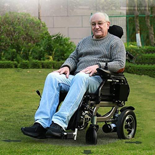 Sillas de ruedas eléctricas, completamente automático remoto silla de ruedas plegable Control de Potencia Ligera ancianos Vespa personas de movilidad reducida, Durable y caja fuerte fácil de conducir,