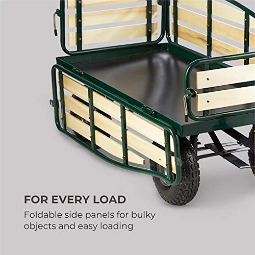 Waldbeck Ventura Hand Truck Hand Cart Heavy Load (300 Kg Load Capacity, Sturdy Steel Frame, Folding Side Panels with Pinewood Veneer) Dark Green