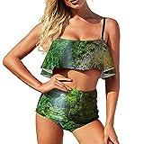 Bikini Cuevas en los bosques traje de baño para las mujeres traje de baño de dos piezas deportes acuáticos más tamaño Volantes Strappy Halter Set