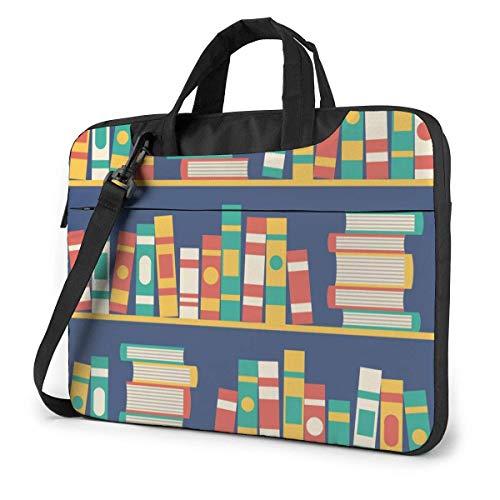 Estantería Colorida Llena de Libros Adultos Estudiantes 15.6 en Bolsa para computadora portátil Funda Protectora para computadora portátil Bolso Bandolera