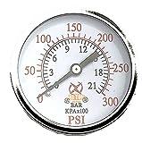 Air Compressor Pressure/Hydraulic Gauge 2' Face Back Mount 1/4' NPT 0-300 PSI 5 Color zone