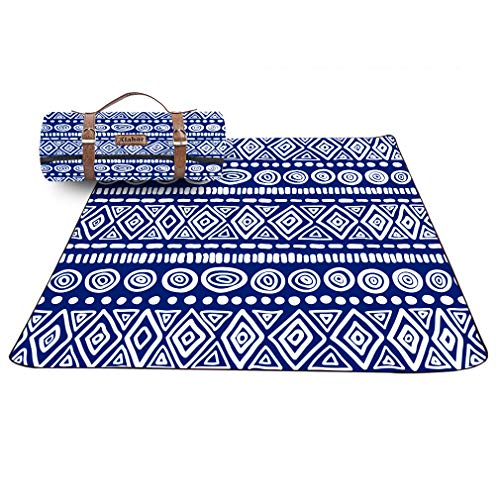 X-Labor Bohemian Picknick Decke 200x200 cm Leder Gurt mit wasserdichter PEVA Unterseite Outdoor Stranddecke Campingdecke Motiv-C