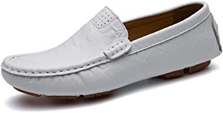 Loafer For Men Boat Shoes Rung Toe Slip On Synthetic Leather Whippersnapper Cozy Breathable Handmade Suture Anti Slip casual shoes (Color : White, Size : 37 EU)