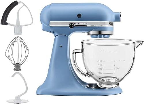 discount KitchenAid outlet online sale 5-Quart discount Tilt Head Stand Mixer With Flex Edge Beater Glass Bowl Blue Velvet outlet sale