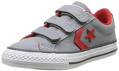 Converse Star Player 3V Ox - Zapatillas de deporte de canvas para niño mixtos   gris Gris (Gris/Rouge) 27