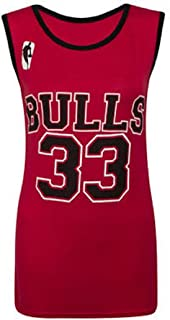 Crazy Girls Ladies Womens Bulls 33, Heat 6 Varsity American Basketball Jersey Top