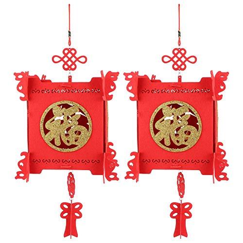 Mxzzand Linterna China roja Festivales Decoración Linterna Decoración Linterna 2 Juego Jardín...