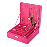 KLOUD City Two-Layer lint Jewelry Box Organizer Display Storage case with Lock (Rose)