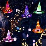 Chapeau de Sorcière Décoration d'halloween 6PCS Suspendu éclairé Rougeoyant Décorations avec Guirlande Lumineuse pour Noël Halloween Anniversaire Thanksgiving Fêtes Décor Les Enfants Caps Adultes