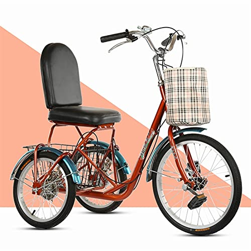 SN Mini Triciclo para Adultos Trike Cruiser Bike Bicicleta 3 Ruedas con Cesta Grande Delantera Trasera Hombres Mujeres Picnics Y Compras Triciclo (Color : Brown)