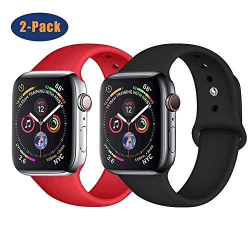 SSEIHI Compatibile con Cinturino Apple Watch 38mm 40mm 42mm 44mm,Cinturino di Ricambio in Silicone Morbido Cinturino di Ricambio Compatibile Serie Iwatch SE/6/5/4/3/2/1-2pack