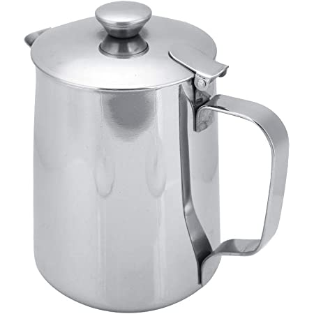 Stainless Steel Coffee Cup Mug Milk Frothing Pitcher Jug with Lid for Latte Coffee Art for Office Kitchen(600mL)