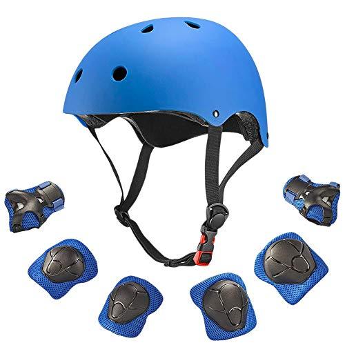 Surenhap Ensemble Protection Sports Enfants 7-en-1 avec Protections protectrices aux Genoux, protège-Poignet pour garçon