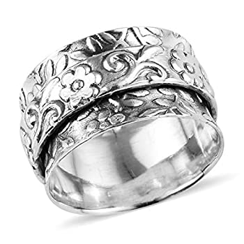 Shop LC 925 Sterling Silver Spinner Ring Boho Handmade Stress Anxiety Relieving Meditation Oxidized Fashion Floral Band Vintage Jewelry for Women Mothers Day Gifts