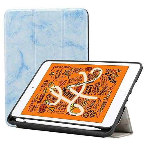 JIANWU Cover, Marble Texture Pattern Horizontal Flip Leather Case for iPad Mini 2019, with Three-folding Holder & Pen Slot & Sleep/Wake-up Function (Pink) (Color : Blue)