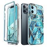 i-Blason iPhone 12 ケース/ iPhone12Pro ケース 6.1インチ 2020 女性向け 液晶保護フレーム付き バンパーとケースの二重構造 米軍MIL ワイヤレス充電 PC+TPU 全面保護 耐衝撃 高級感 おしゃれ かわいい Cosmoシリーズ 海ブルー