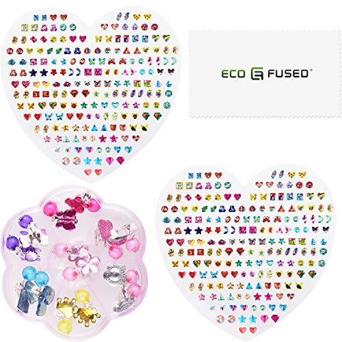 ECO-FUSED 380 pcs Stick-on Earrings Sticker and 7 pairs Clip-on Earrings - For Girls, Teens and Adults - No Piercings Needed- Toy Jewellery for Dress-up - Personal Use or Gift