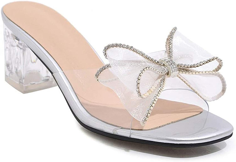 Eora-2sl Women Sandals PVC Crystal high Heels shoes Bowknot Transparent Party shoes Woman
