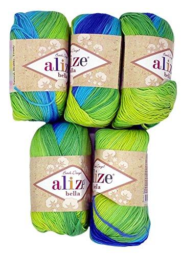 Alize Bella 5 x 50 Gramm Baumwolle Mehrfarbig mit Farbverlauf, 250 Gramm Wolle aus 100% Baumwolle, Strickwolle (türkis blau grün 4150)
