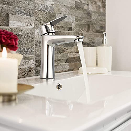 Grifo de baño monomando – Grifo termostático de acero inoxidable cromado para bañera o lavabo, chorro aireado y silencioso con espumador, palanca de ajuste de presión y temperatura
