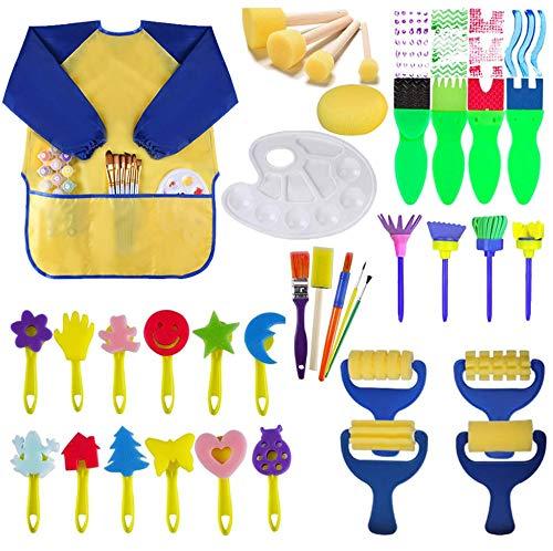 Nifogo Kit di Pittura per Bambini, Spugna Pittura Pennelli, Pennello Bambini per Apprendimento Artistico E Artigianale, Include Grembiule (35Pcs)