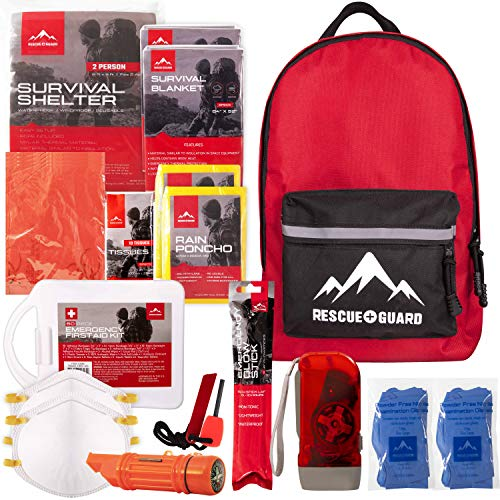 Rescue Guard First Aid Kit Hurricane Disaster or Earthquake Emergency Survival Bug Out Bag Supplies for Families - 72 Hours of Disaster Preparedness Supplies (No Food-Water Basic Survival Pack)