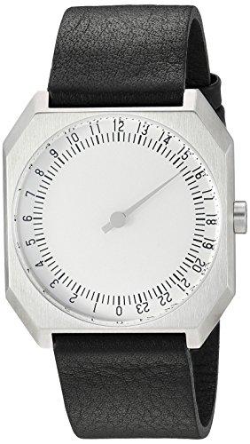 slow Jo 05 - Black Leather, Silver Case, Silver Dial Analog Leder Schwarz slow Jo 05