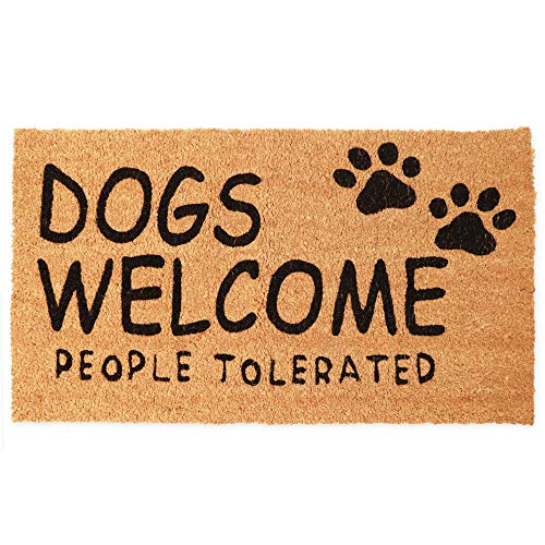 Dogs Welcome People Tolerated Welcome Mat, Natural Coir Doormat (30 x 17 in)