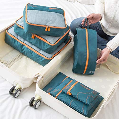 7 bolsas de almacenamiento portátiles de viaje para ropa, zapatos de almacenamiento, bolsas de cosméticos, accesorios de equipaje, suministros, Verde militar (Verde) - 6914534463870