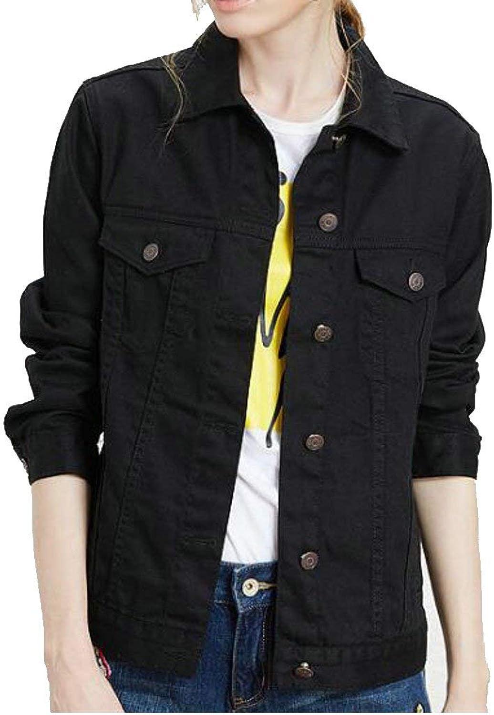 BU2H Womens Boyfriend Denim Long Sleeve Loose Jean Jacket Coats
