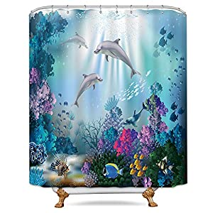 Riyidecor Dolphin Shower Curtain Underwater Algaes Coral Reefs Sunbeam Tropical Fish Marine Wildlife Ocean Animal Seabed Bathroom Decor Fabric Polyester Waterproof 72x84 Inch 12 Pack Plastic Hooks