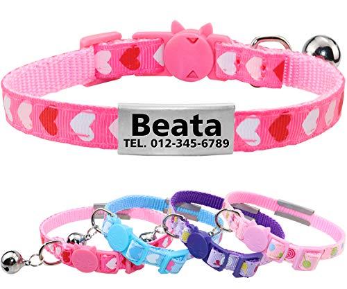 Taglory Katzen Halsbänder Personalisiert, Graviertes Edelstahl ID Tag, Halsband Katze Sicherheitsverschluss mit Glocken,18-25cm Rosa