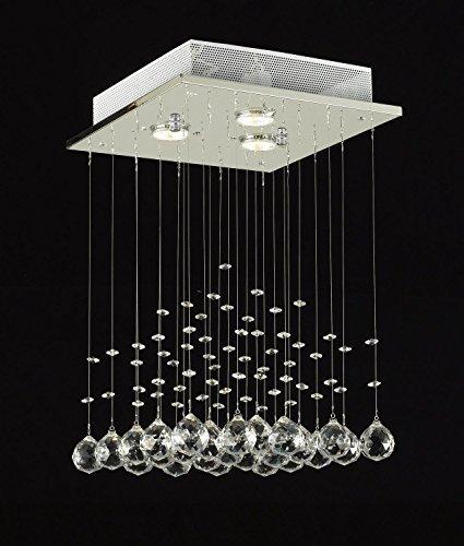 Saint Mossi Modern K9 Crystal Lámpara de araña de lluvia Iluminación Montaje empotrado Lámpara de techo LED Lámpara colgante para comedor Baño Dormitorio Salón Ancho 30 cm x Altura 45 cm