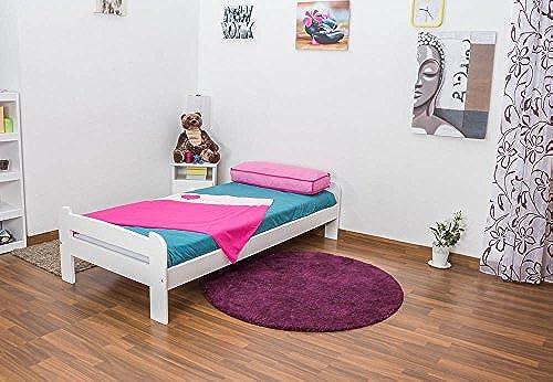 Kinderbett   Jugendbett Vollholz, Kiefer massiv, Farbe  Weiß, A11, inkl. Lattenrost, Abmessung 90 x 200 cm