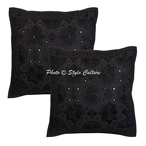 Stylo Culture Cojín de algodón Bordado con Espejo Indio Cojín con Funda de Almohada étnico Negro 16x16