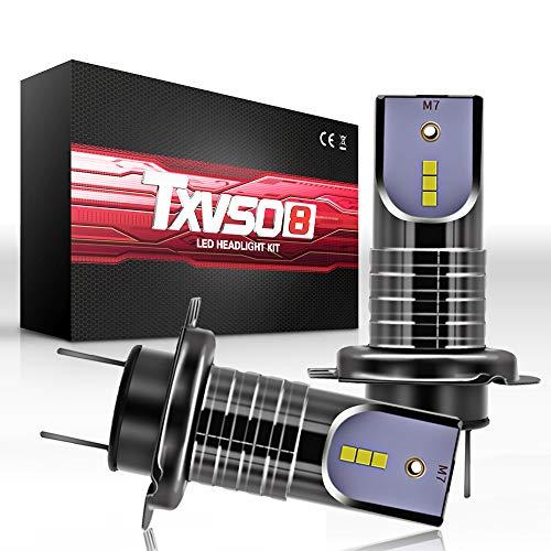 TXVSO 110W H7 LED Kit de reemplazo de faro 12000LM para lámparas halógenas de xenón, 6000K blanco, apto para todos los automóviles H7, 55W/bombilla, 2 piezas/juego