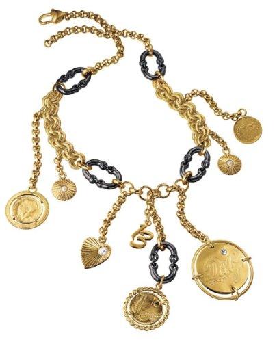 Dolce & Gabbana Damen-Halskette Token Edelstahl vergoldet 60cm DJ0479
