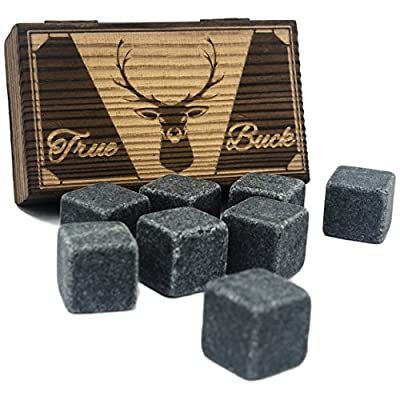 True Buck Premium Granite Whiskey Stones - Includes a Luxury Roasted Pine Gift Set Box with Iron Hinges & Latch