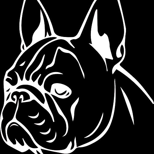 NBFU DECALS French Bulldog Cute Face (White) (Set of 2) Premium Waterproof Vinyl Decal Stickers for Laptop Phone Accessory Helmet Car Window Bumper Mug Tuber Cup Door Wall Decoration