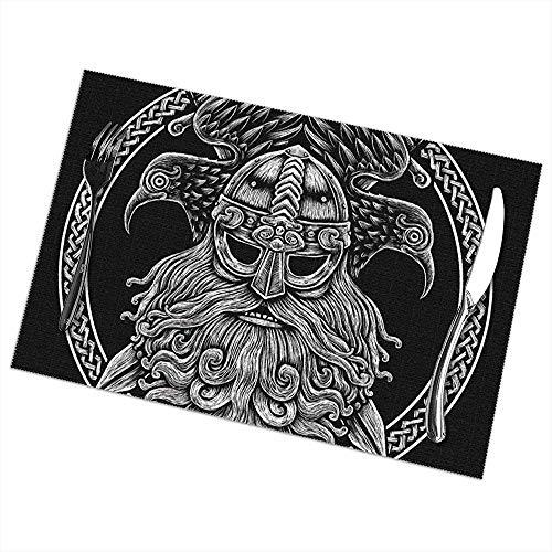 Hui-Shop Manteles Individuales para Mesa de Comedor Juego de 6, nórdico Dios Odin con Cuervos y Espadas. Ilustración gráfica en The Ring Table Mat 12x18 Inch