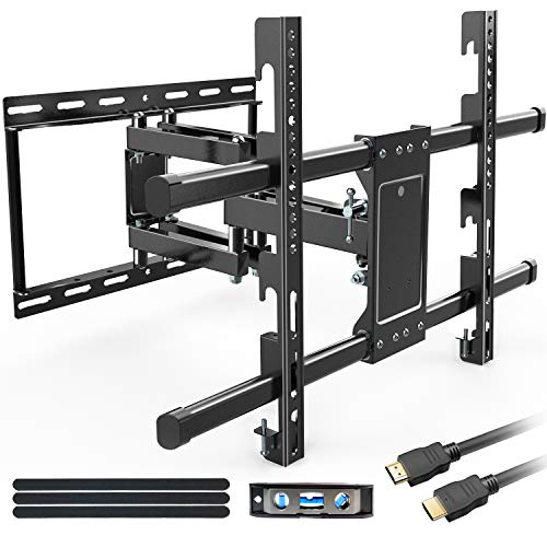 """Full Motion TV Wall Mount Bracket for Most 32-80 Inch LED/LCD/OLED Flat Curved TVs with Dual Articulating Arms Swivel Tilts Rotation fits 16""""Stud. MAX VESA 600X400mm and Loading Capacity 110 lbs."""
