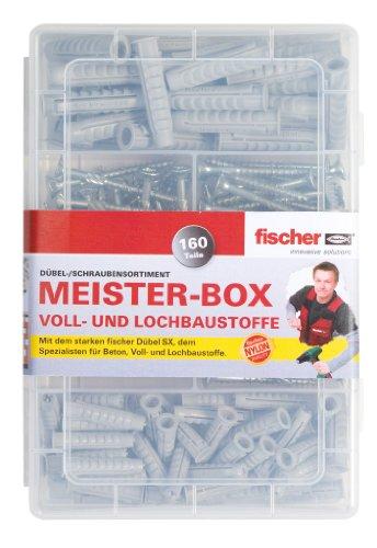 Qualitäts-Dübelsortiment Meister-Box inkl. Schrauben, Vollbaustoffe+Lochbaustoffe, kompakt, 160tlg.