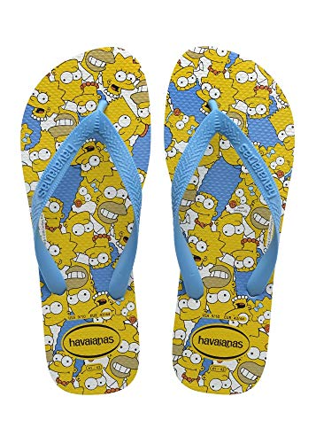 Chinelo Simpsons, Havaianas, Adulto Unissex, Branco/Turquesa, 39/40